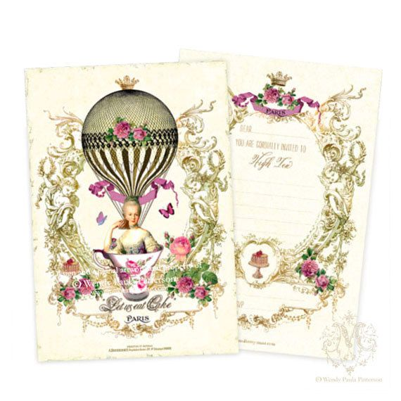 Marie Antoinette High Tea Invitations, French, Vintage Hot air ...