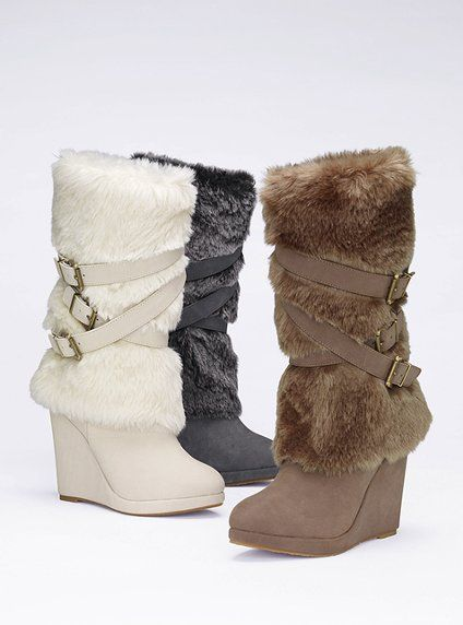 42716ca13be colin stuart faux fur buckle wedge boot. I d wear them in white.  128