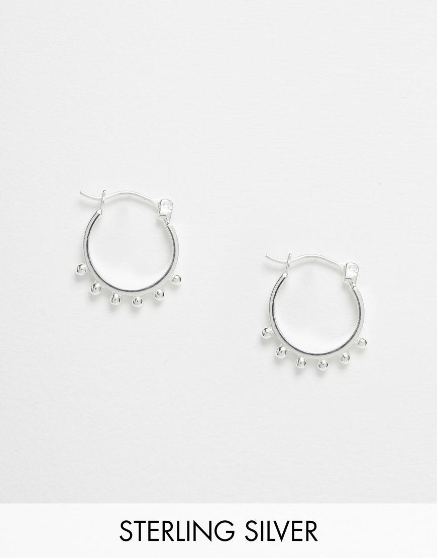 d301b0fd5 ASOS Sterling Silver Mini Ball Hoop Earrings | FASHION | Jewelry ...