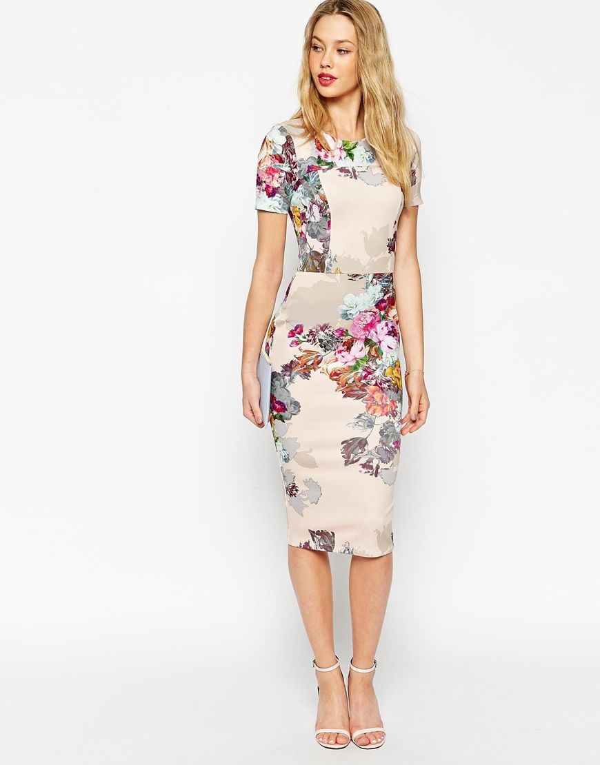 High Neck Pleated Mini Floral Dress - Multi Asos Petite