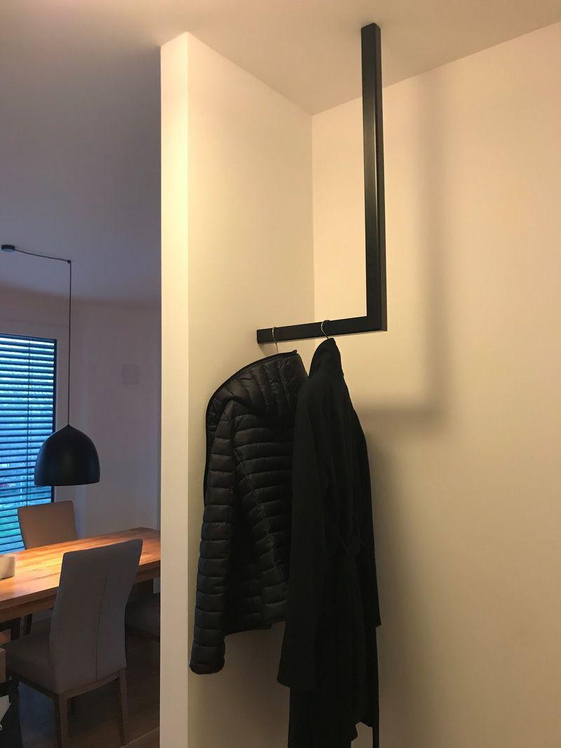 L Form Kleiderstange In L Form Pulverbeschichtet Schwarz Matt