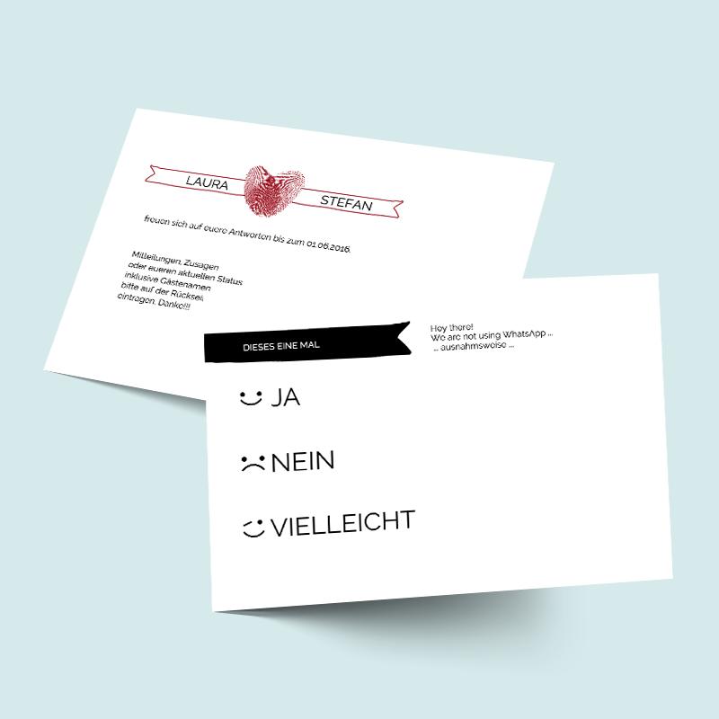 Antwortkarten Fingerspitzengefuhl Fingerprint Hochzeitskarten