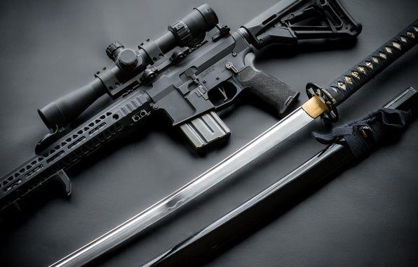 Фото обои стиль, меч, катана, оптика, рукоятка, штурмовая ...