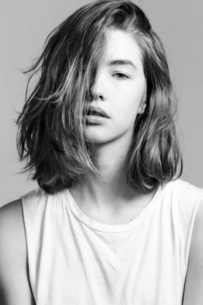 Medium Length Haircut With Touseld Waves Hairstyles Pinterest