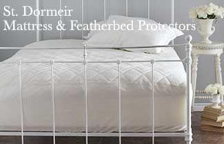 "St. Dormier Featherbed Protectors queen 16"" pocket, www.plumeriabay.com $190"