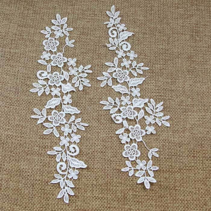 1 Pairs Motif Embroidered Flowers Lace Trim Applique Dress Decor Sewing Craft
