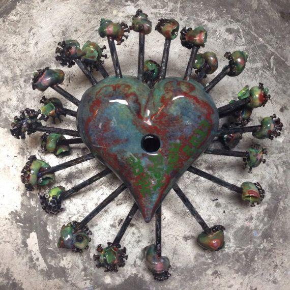 Snails, Nails, and Spots Ceramic Heart Sculpture