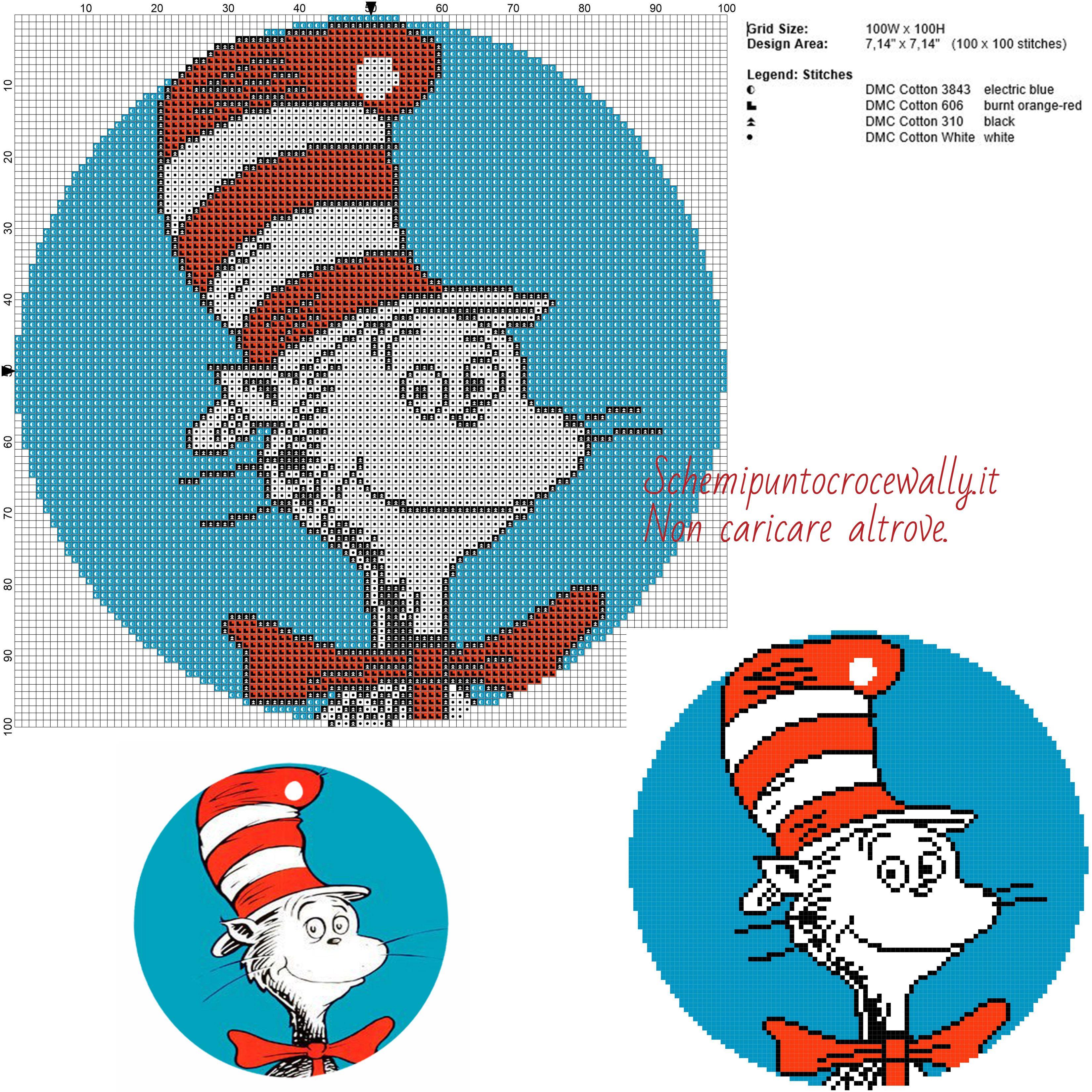Il Gatto Col Cappello Dr Seuss Schema Punto Croce Gratis 100x100