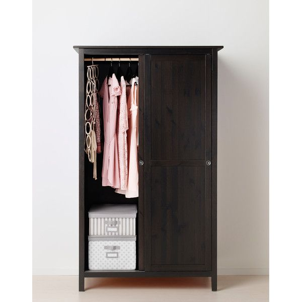 IKEA Hemnes Wardrobe With 2 Sliding Doors, Black Brown (u20ac285) ❤ Liked On  Polyvore Featuring Home, Furniture, Storage U0026 Shelves, Armoires, Black  Storage ...