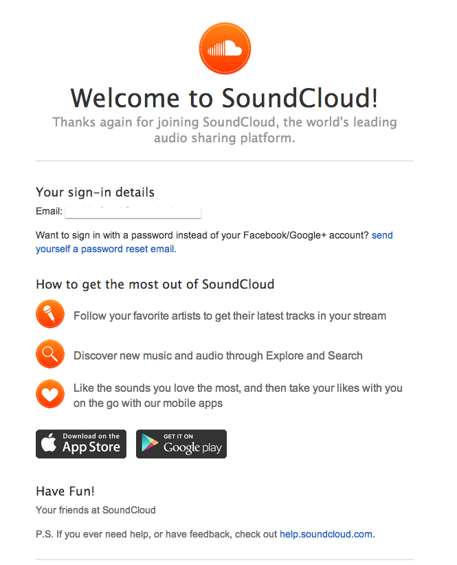 Soundcloud | Welcome emails | Welcome emails, Google account