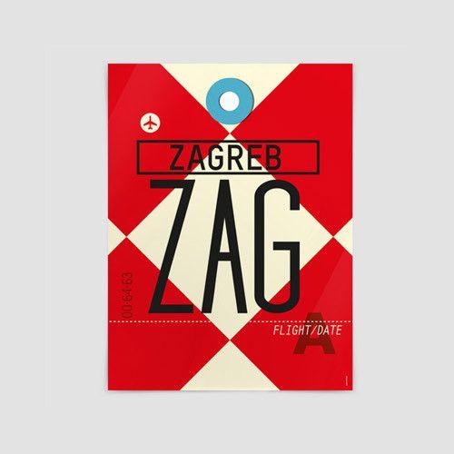 Zag Zagreb Airport Pleso Croatia Poster Poster Zagreb Travel Journal