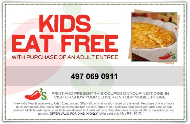 Chili S Free Kids Meal Printable Coupon Free Kids Meals Kids Eat Free Kids Meals