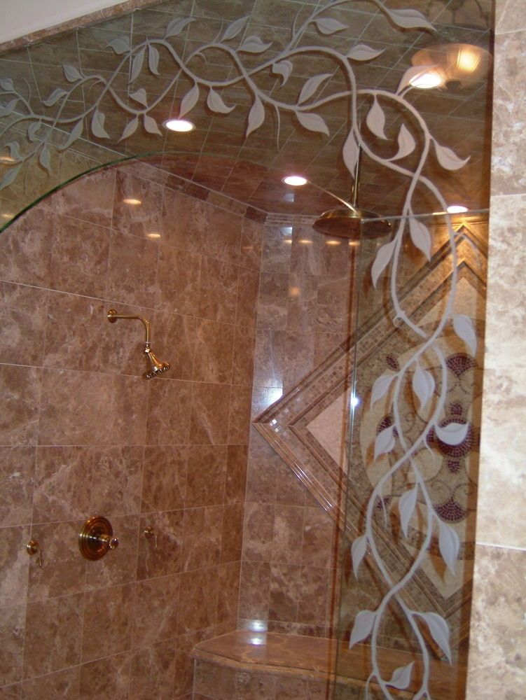 Elegant Vines Close Up Glass Shower Doors Glass
