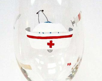 NURSE WINE GLASS - hand painted wine glass - personalized wine glass