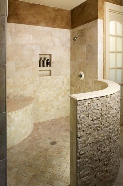 bathroom remodeling must haves large walk in shower with privacy wall built in bench and. Black Bedroom Furniture Sets. Home Design Ideas