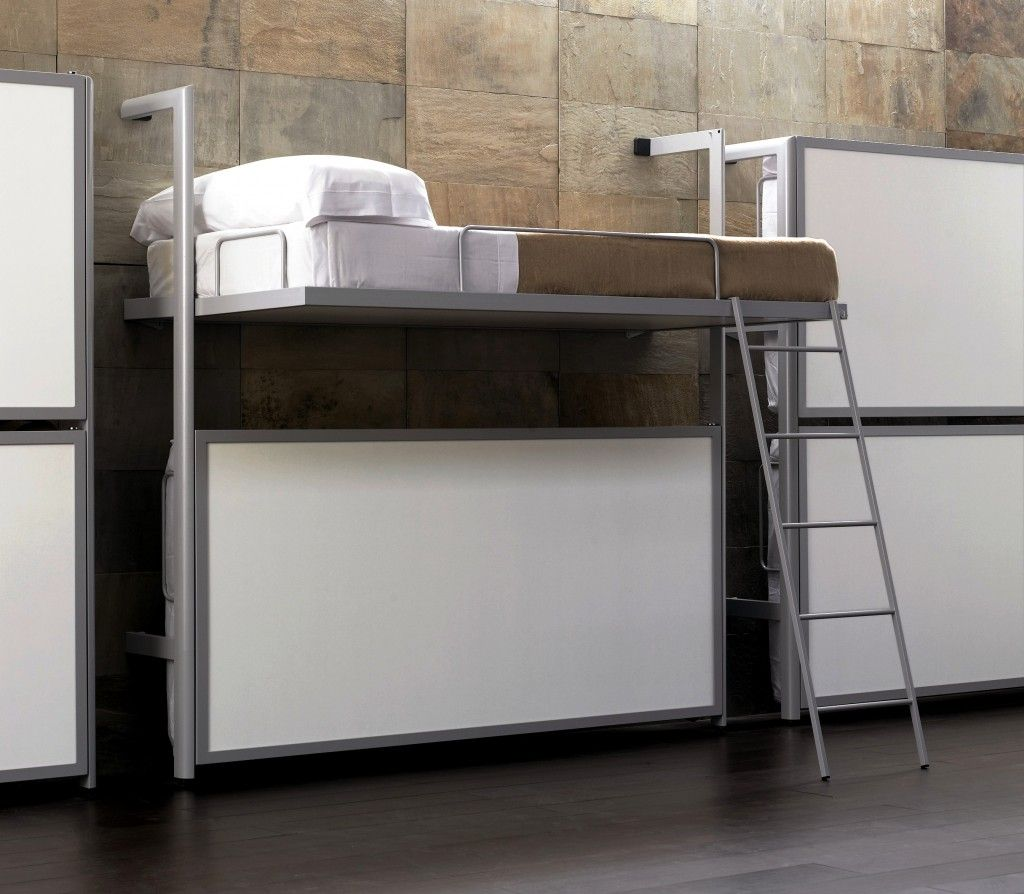 Modern wall mounted bunk bed with silver metal materials bed frame modern wall mounted bunk bed with silver metal materials bed frame and soft white mattress that amipublicfo Images