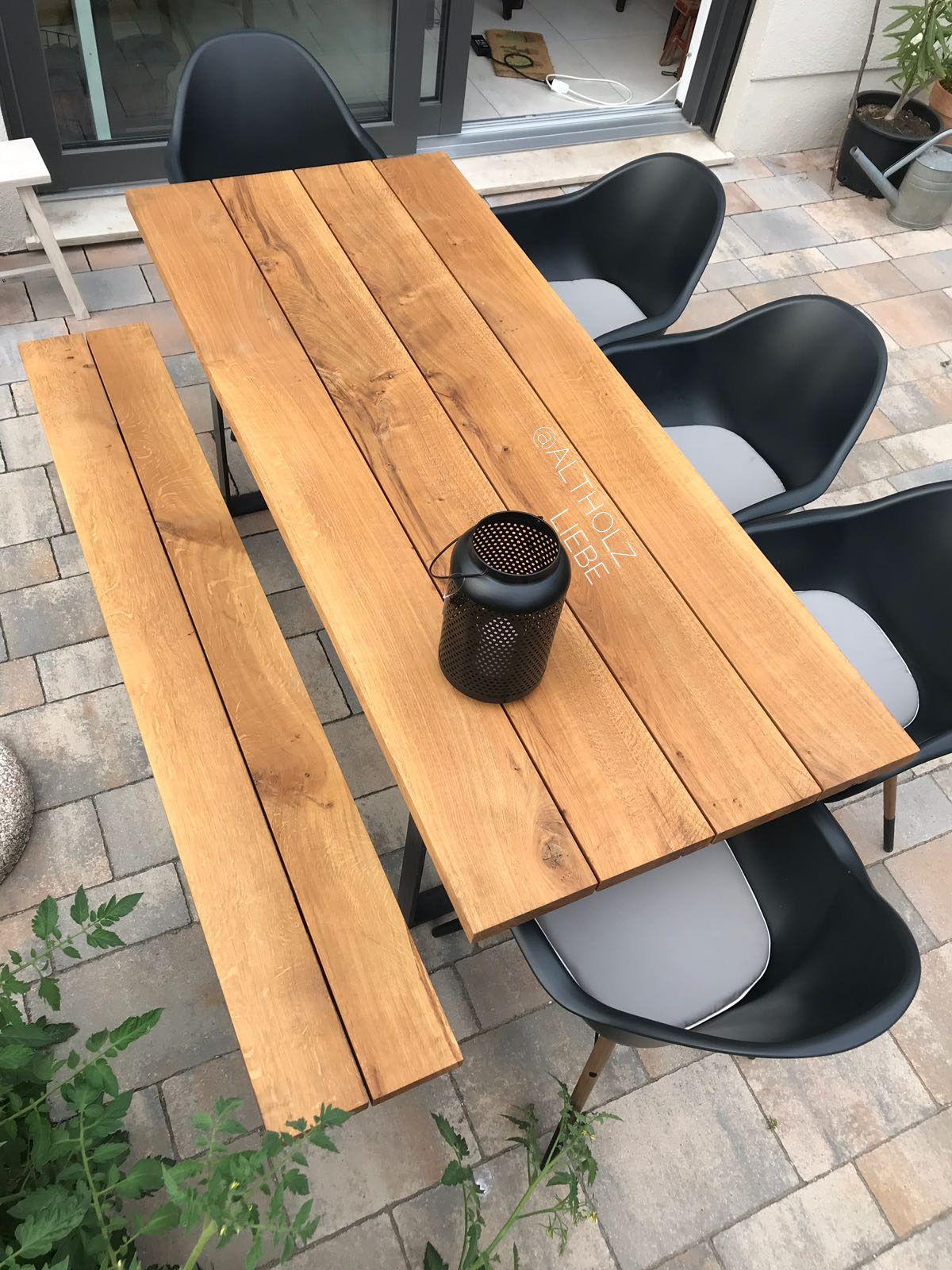 Gartentisch Mit Gartenbank Aus Eiche Mass 220 X 90 Cm Trapezgestell Aus Rohstahl