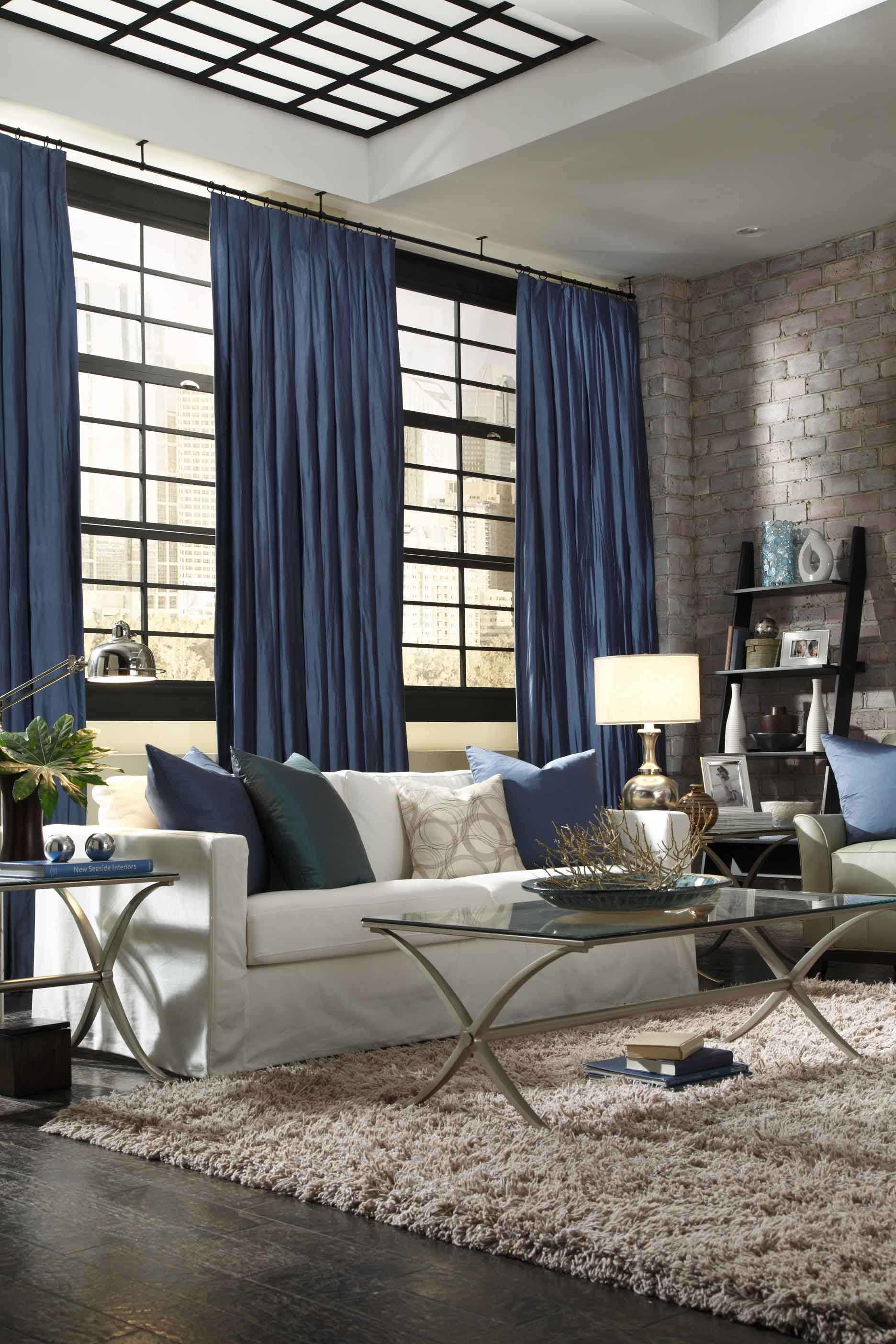 Stunning home decor with blue curtains Basement Ideas