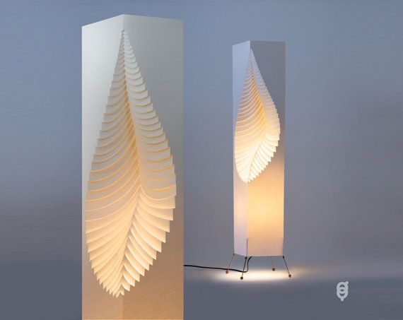 Leaf Design original hand made paper lamp with a wire stand