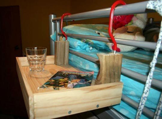 Flying Nightstand For The Top Bunk Storage Organization