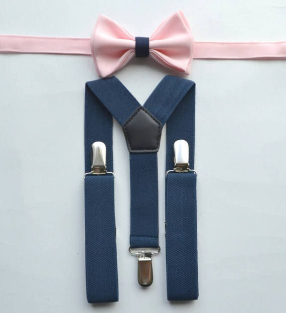 a444ec8e0c7a This stylish BLUSH PINK BOW TIE (with a navy loop) & NAVY SUSPENDERS