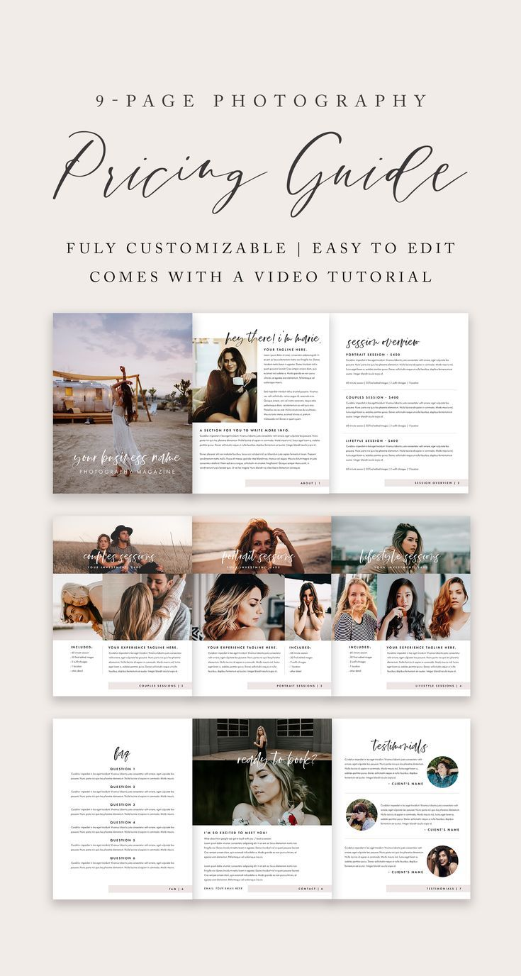 Photography Pricing Guide Template | Infopreneur Resources