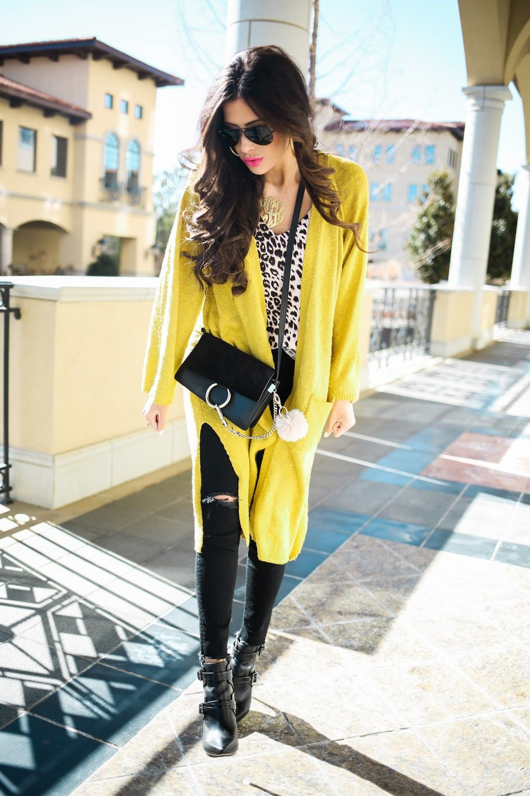 chic wish yellow cardigan 592712c56096f