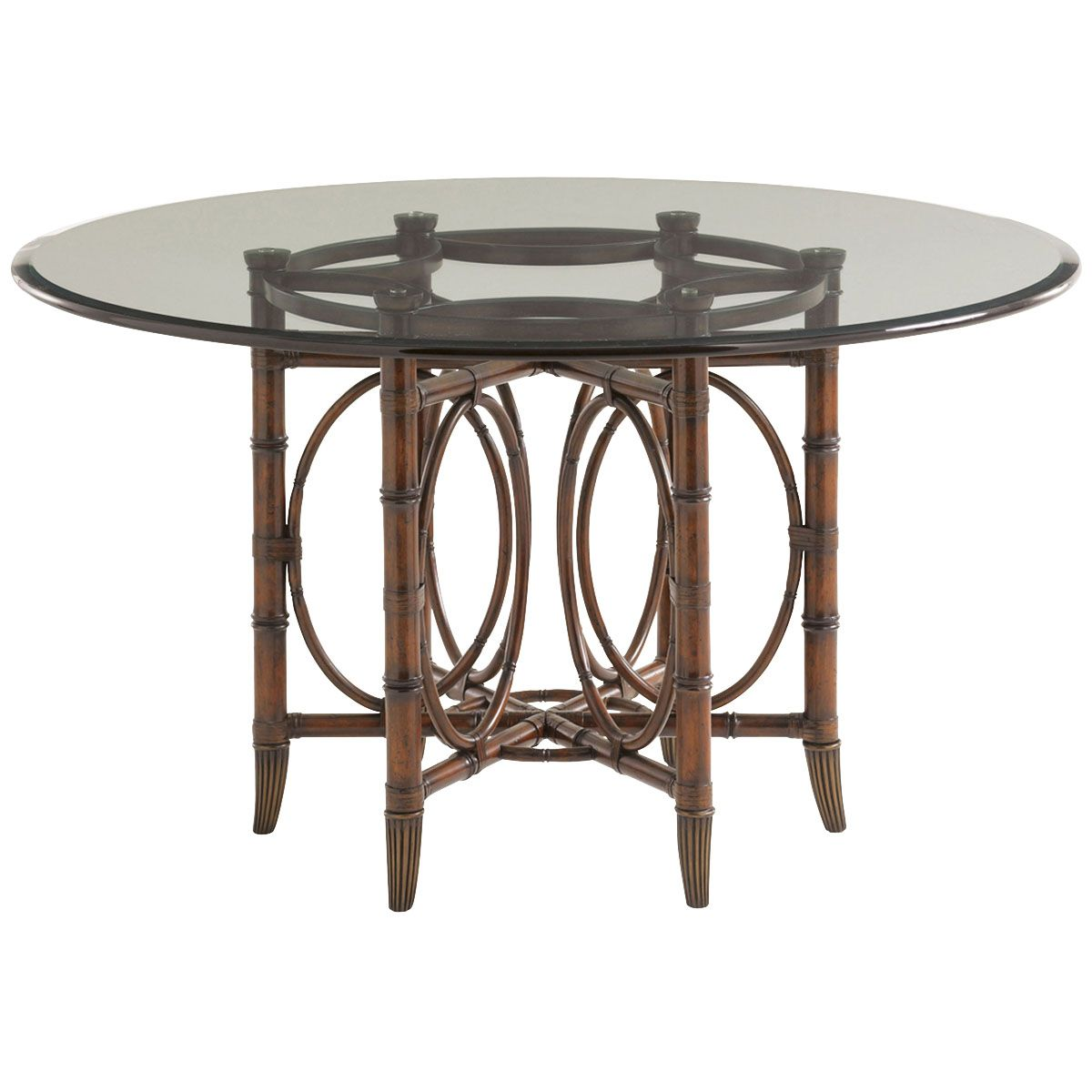 Coral Sea Rattan 54 Inch Glass Top Dining Table 545 875 001 054gt