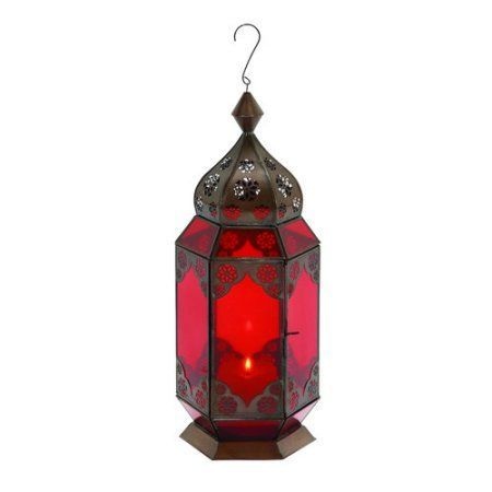 Decmode Metal and Glass Lantern, Multi Color, Multicolor