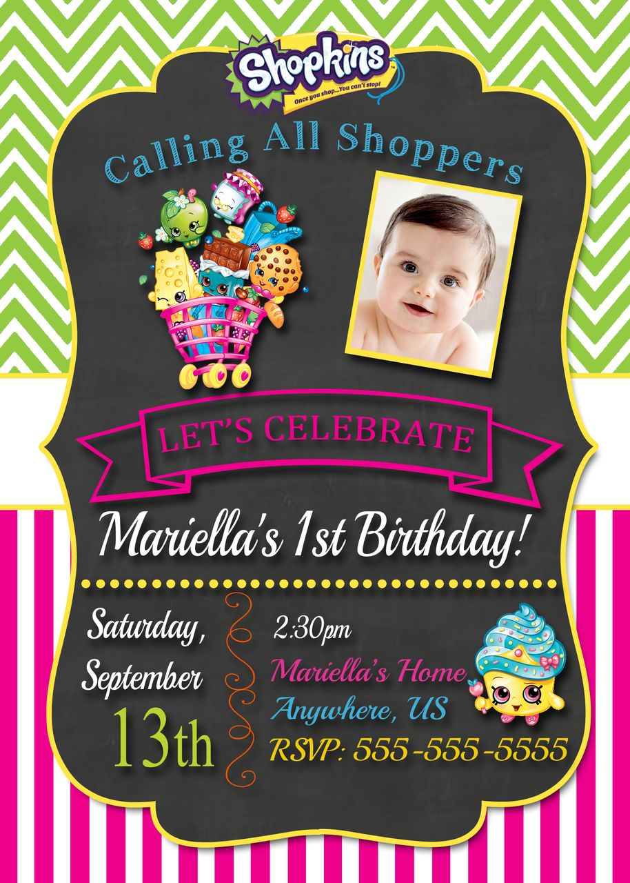 Cute Shopkins Birthday Invitations Chalkboard