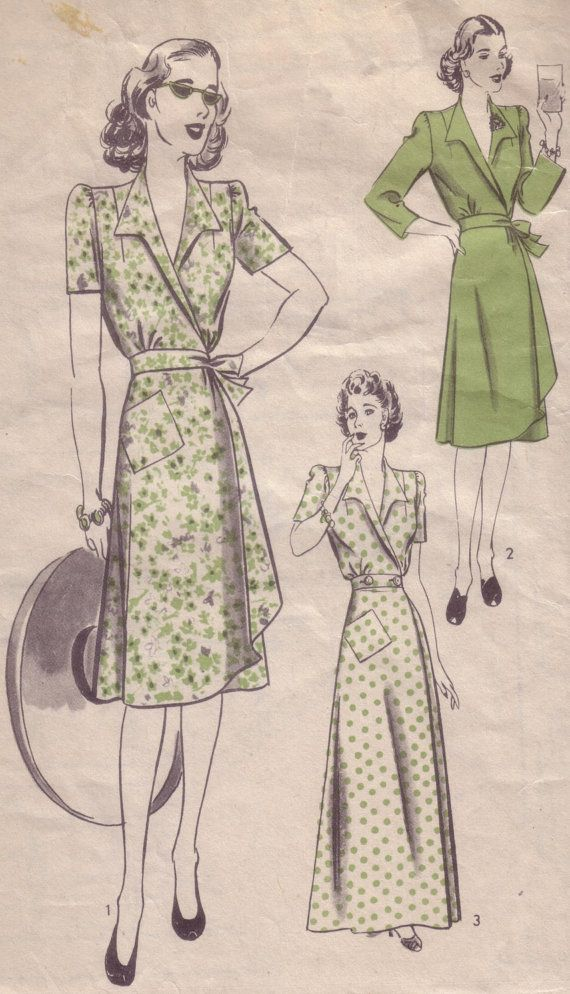 40s Vintage Pattern - Hollywood Wrap Dress | Ropa: vestidos, blusas ...