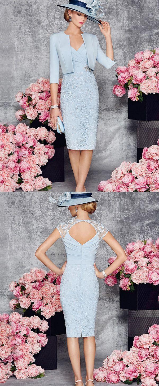 Elegant satin u lace vneck neckline sheath kneelength mother of