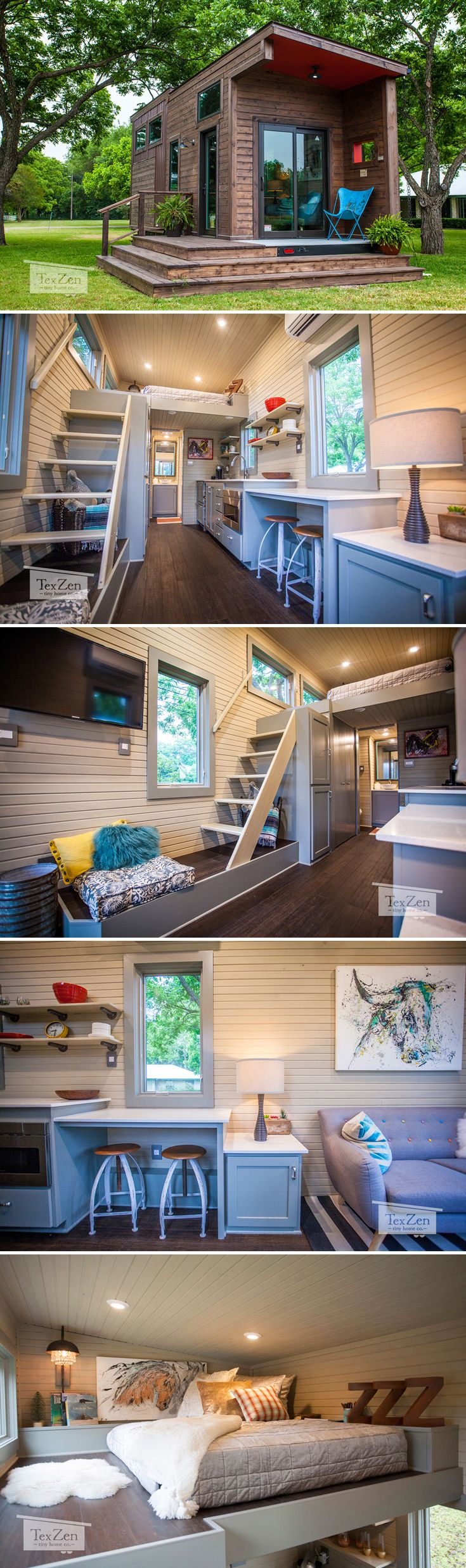 From Austin Texas Based Texzen Tiny Home Co Is The Single Loft House Rustic Modern Has A Covered Patio And Bright Ious Interior