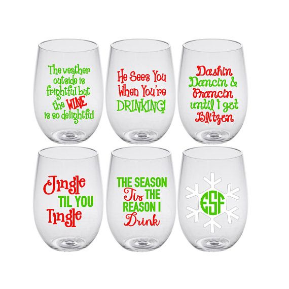 Includes 1 Clear Acrylic 19oz Wine Glass In The Style Of Your Choice At Checkout Please Provide Christmas Wine Glasses Christmas Glasses Christmas Wine