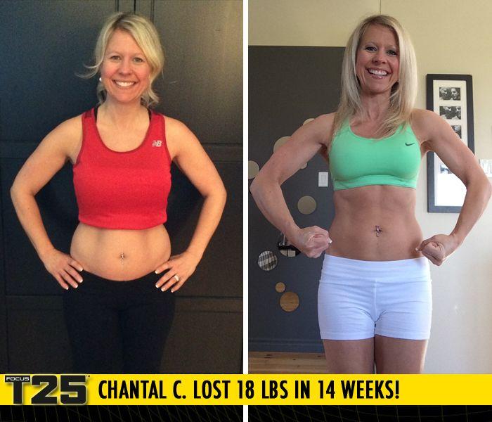 Chantal C  lost 18 lbs in 14 weeks of Focus T25!