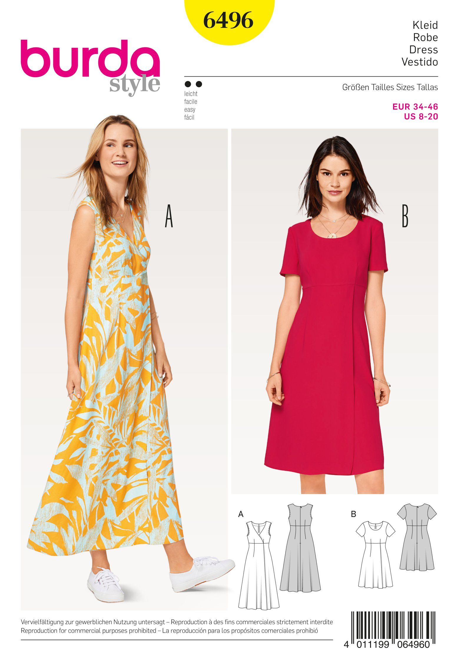 Burda Ladies Easy Sewing Pattern 6663 V Neck Shoulder Tie Dresses Burda-6663