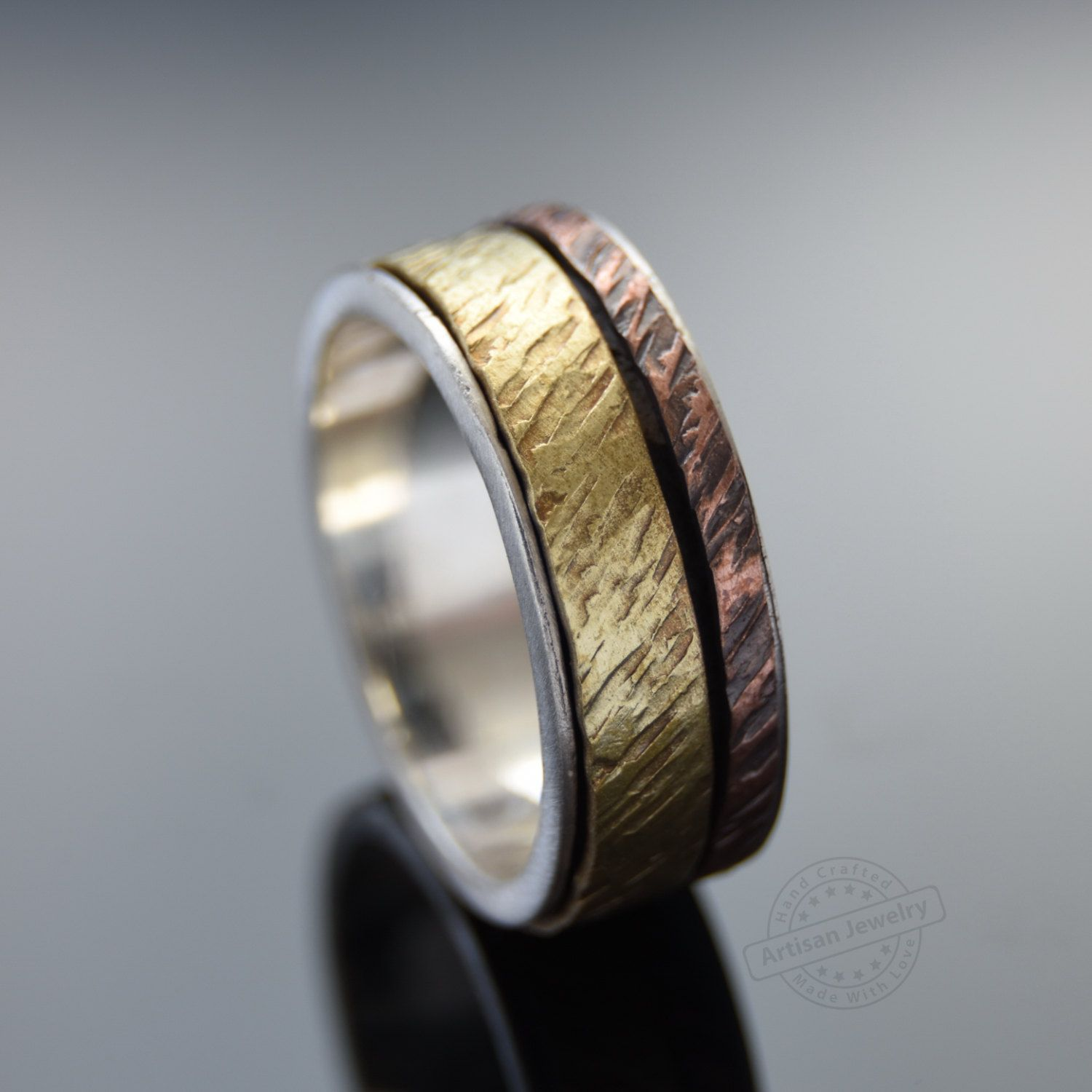 Silver Copper and Brass spinners ring Rustic Men wedding band Raw