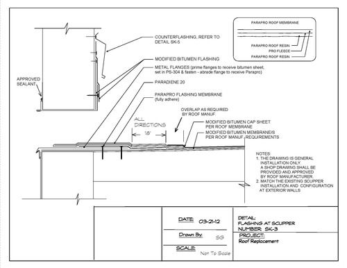 Thru Wall Scupper Detail For A Modified Bitumen Roof In 2020 Roof Construction Flat Roof Construction Roof Detail