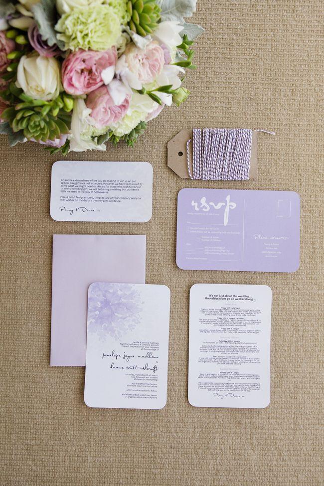 Lavender wedding stationery. Real Wedding: Penny & Duane on Maroochy ...