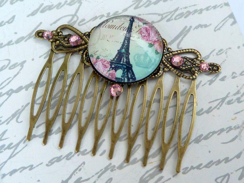 Eleganter Paris Haarkamm in bronze mit Eiffelturm von Schmuckdesign-Onlineshop auf DaWanda.com