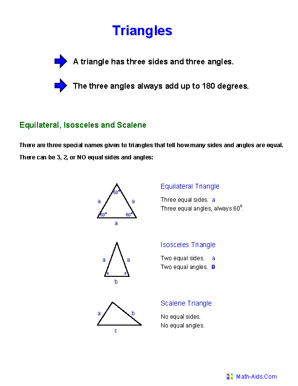 Triangle Facts Worksheets 3rd Grade Geometry