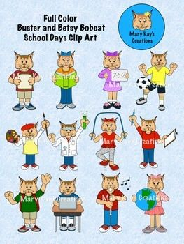 You Will Receive 12 High Quality Clip Art Images Of Buster And Betsy Bobcat Included