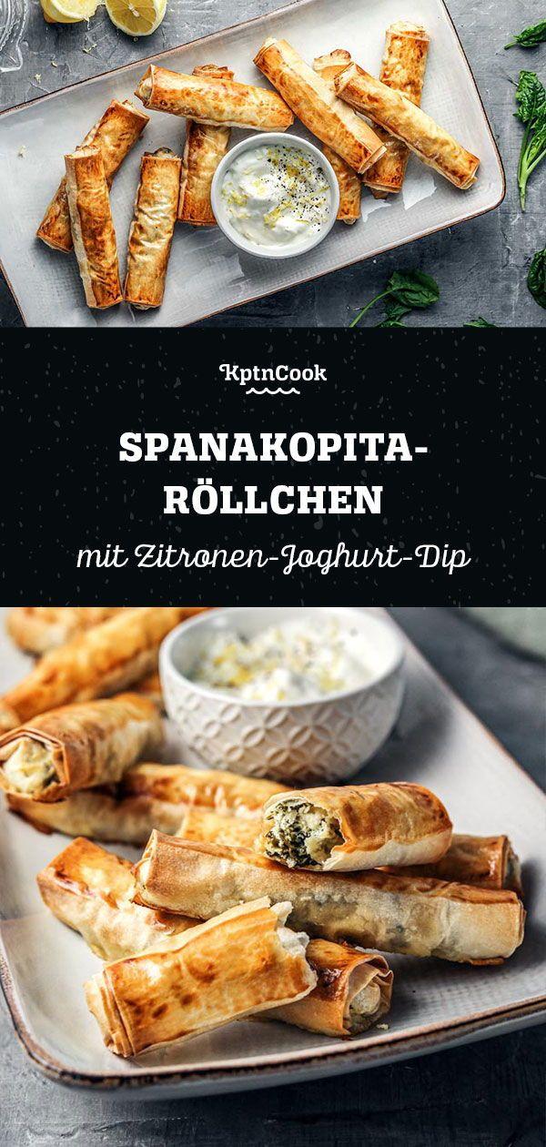 Photo of Spanakopita rolls with lemon yoghurt dip