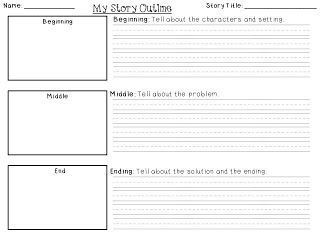 For the love of first grade beginning middle end story for Prewriting outline template