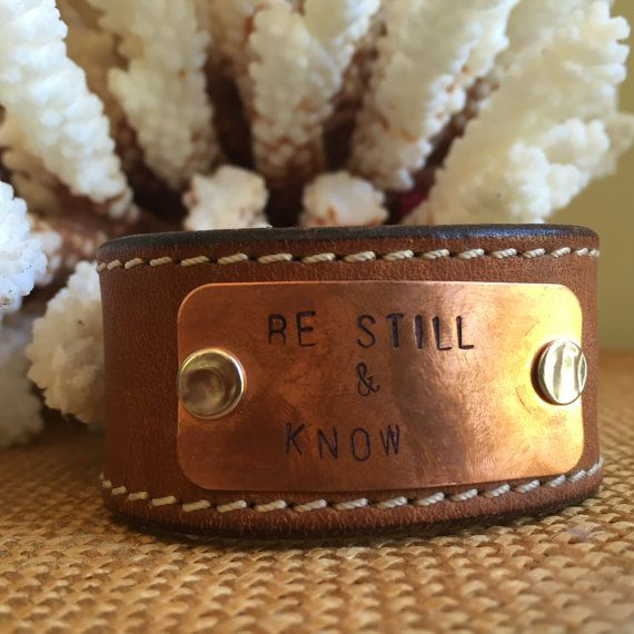 Pin now view later, Jewelry ideas, wedding jewelry, etsy jewelry, jewelry making, jewelry on pinterest, boho, leather cuff Bracelet.  Vintage Leather Cuff Bracelet Hand Stamped Be by PunchVintage