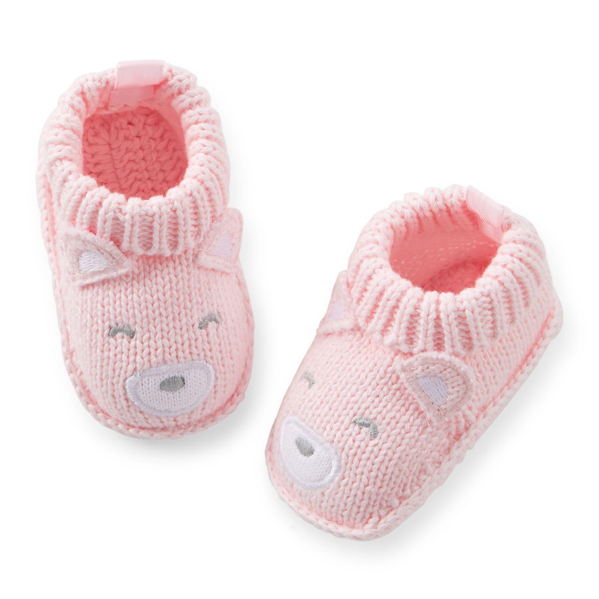 Crochet Pink Bear Booties