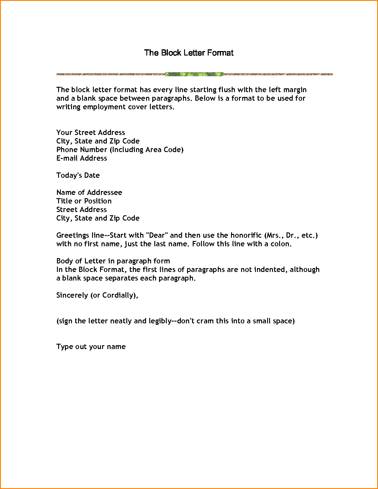 Business Letter Block Format Example With Modified Style Open