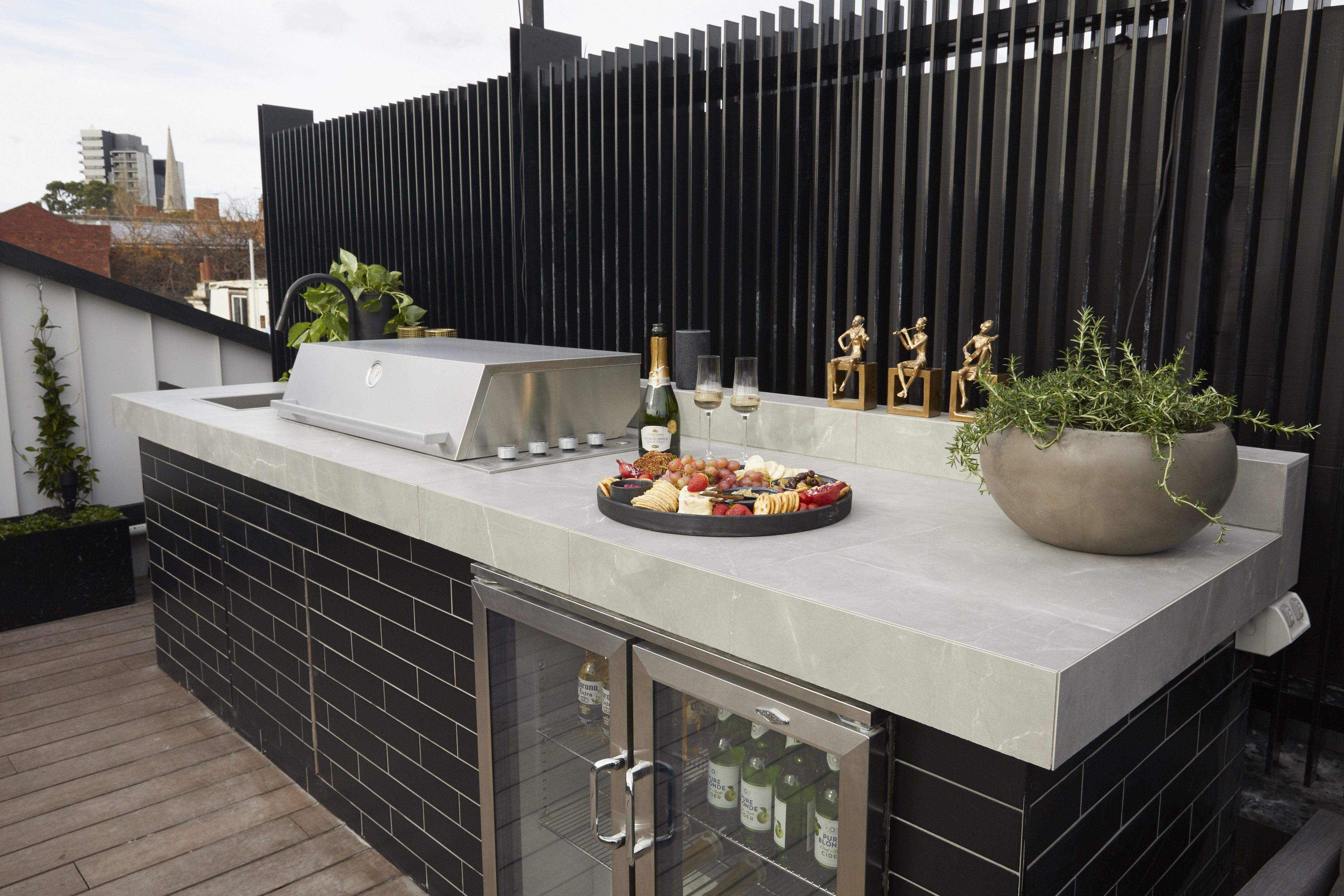 Tap To Recreate Elise Matts Winning Outdoor Bbq Ft Timeless Amani Grey And Union Blac Dining Room Spaces Outdoor Furniture Sets Large Square Coffee Table