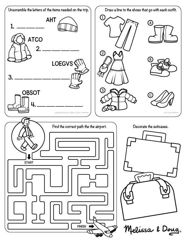 Travel Printable For Kids Worksheets For Kids Travel Printables Kindergarten Worksheets