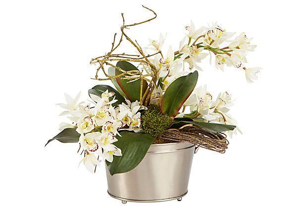 """18"""" Orchids in Silver Bucket, White on OneKingsLane.com"""